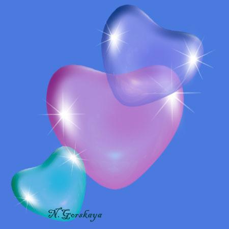 прозрачные сердечки